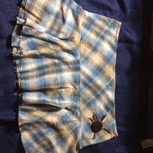 Blue tan plaid mini skirt